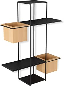 Umbra Cubist Multi Floating Built-in Succulent Planter – Modern Wall Décor and Geometric Display Shelf for Books, Candles, Mementos, Photos, Indoor Plants, Black
