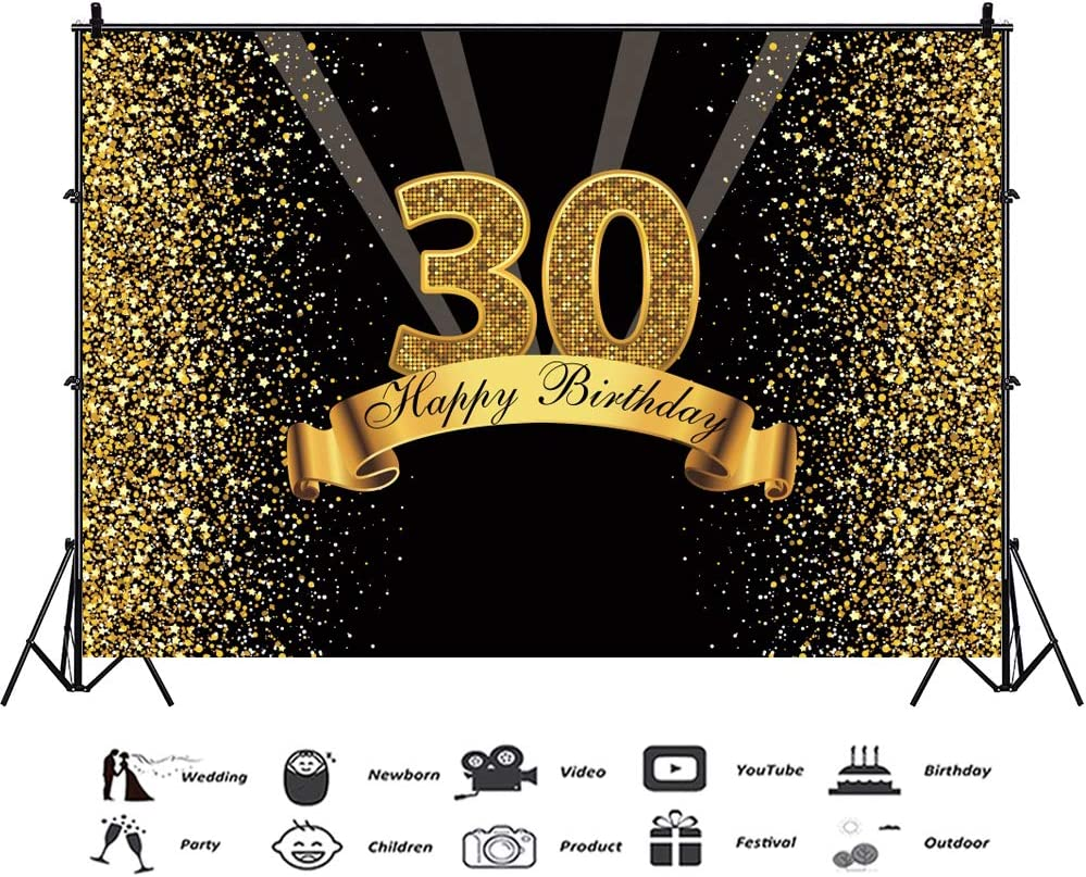 YEELE Golden 30th Birthday Backdrop 10x7ft Glitter Shining Sequins Photography Background 30 Years Old Birthday Decoration Lady Gentlemen Girls Daughter Artistic Portrait Photoshoot Props Wallpaper