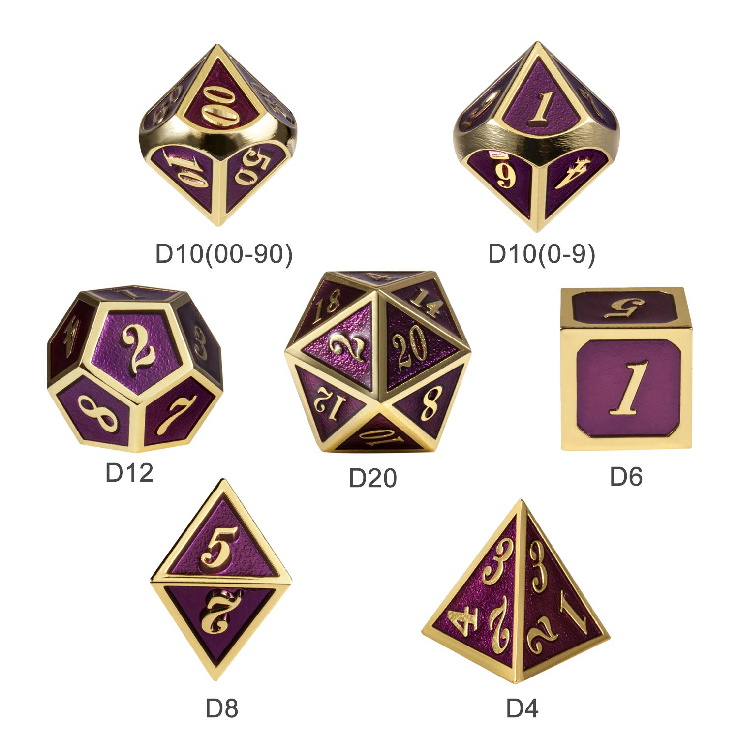 Table Game Metal Dice Set, 7PCS D&D Metal Die with Metal Gift Box for Tabletop Games Dungeons and Dragons Dice (Dark Purple and Gold Number) by DNDND (Image #5)