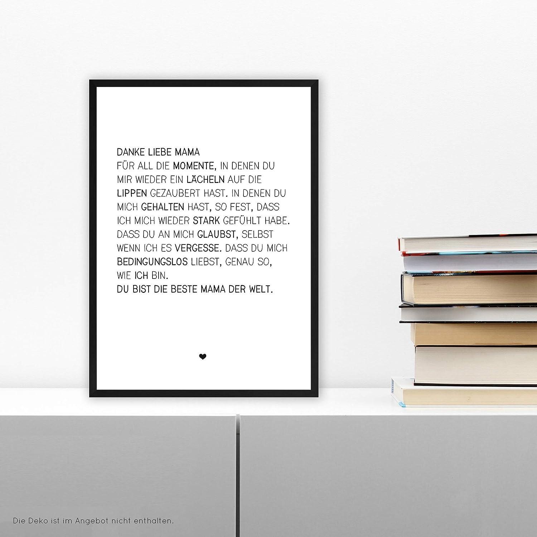 schwarz-wei/ßer FineArt-Print Poster zur Wand-Dekoration Wohnung//Geschenk-Idee Geburtstag Muttertag auf wunderbarem Hahnem/ühle Papier DIN A4 ohne Rahmen Wunderpixel/® Kunstdruck Danke liebe Mama