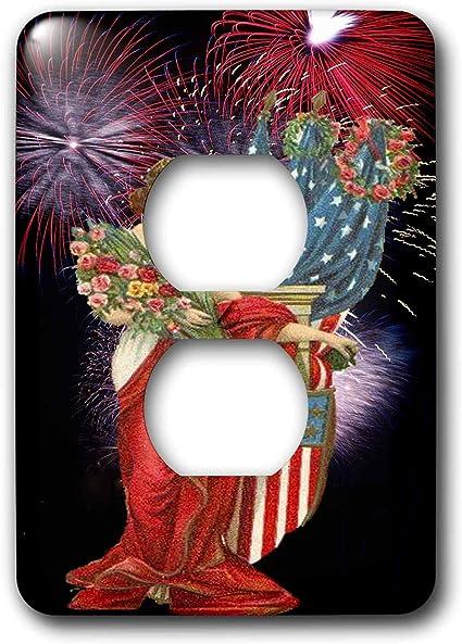 3drose Lsp 14250 6 Vintage Lady And Fireworks 2 Plug Outlet Cover Outlet Plates
