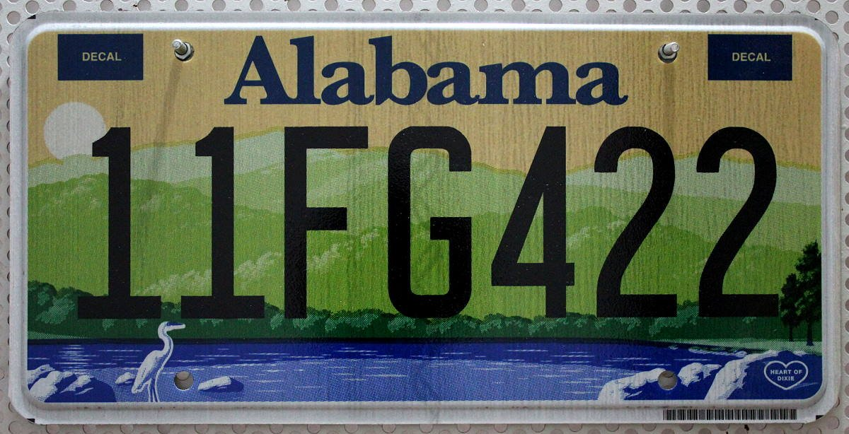 US - Grafiknummernschild Alabama Heart of Dixie Nummernschilder USA