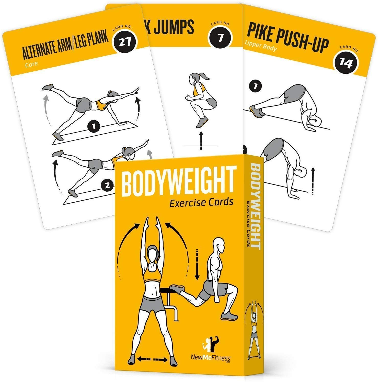 Exercise Cards BODYWEIGHT – Home Gym Workout Personal Trainer Fitness Program Tones Core Ab Legs Glutes Chest Biceps…
