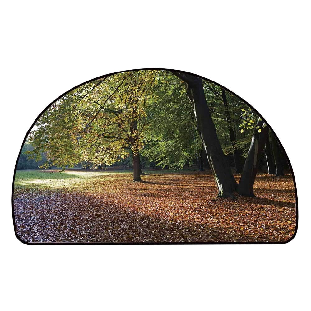 C COABALLA Nature Comfortable Semicircle Mat,Tranquil Tiergarten in Berlin Germany Forest Sightseeing Urban View Autumn Season for Living Room,13.7'' H x 27.5'' L