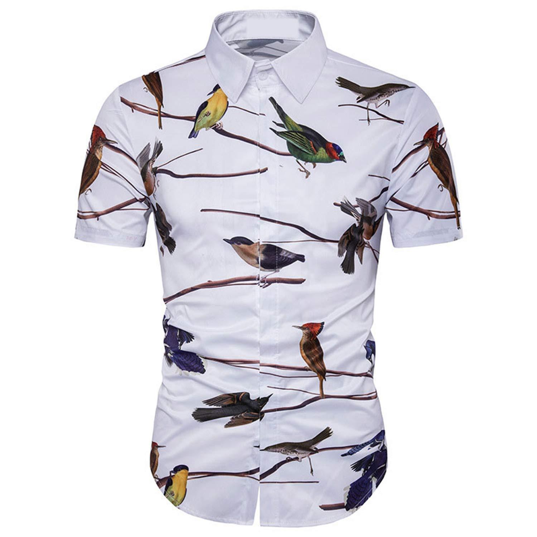 Summer Stylish Bird Print Slim Fit Hawaiian Shirt Men Casual Mens Short Sleeve Button Down Beach Shirts Aloha Shirt White-Asian XXXL
