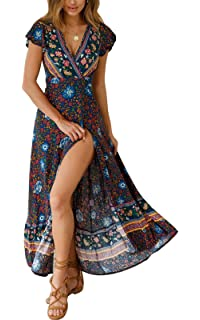 20f480ef043baf MAGIMODAC Langes Strandkleid Sommerkleid Damen Maxikleid Blumenkleid Boho  Kleid Kleid Lang mit Schlitz Baumwolle 36 38