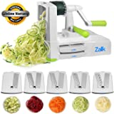 Spiralizer 5-Blade Vegetable Spiral Slicer Strongest Heaviest Duty, Best Veggie Pasta Spaghetti Maker for Healthy Low Carb/Paleo/Gluten-Free Meals With Extra Blade Caddy - by Zalik