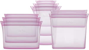 Zip Top Reusable 100% Platinum Silicone Containers - Full Set of 8 - Lavender