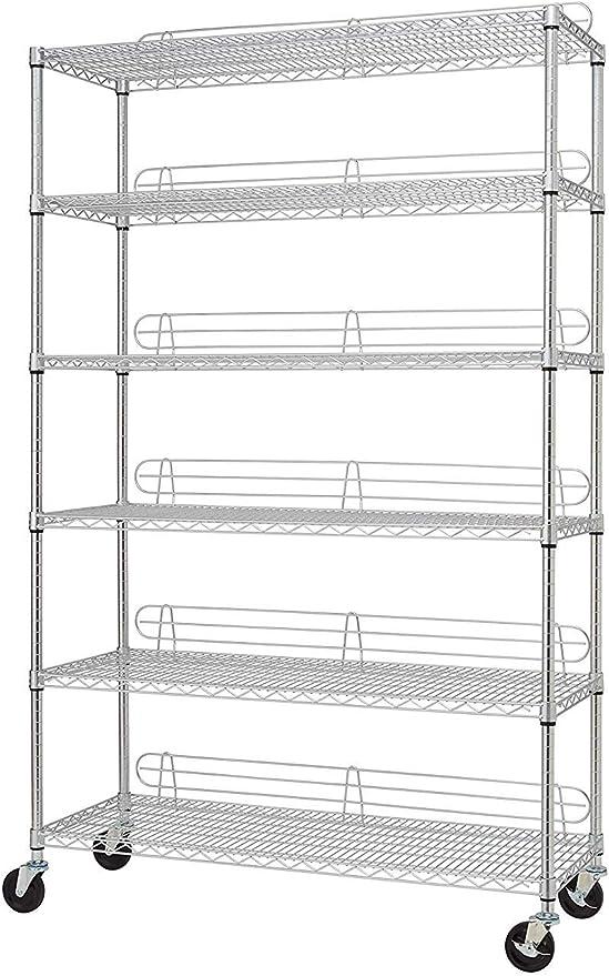 "AmazonSmile: TRINITY NSF 6-Tier Wire Shelving Rack, 48""x18""x72"": Home & Kitchen"