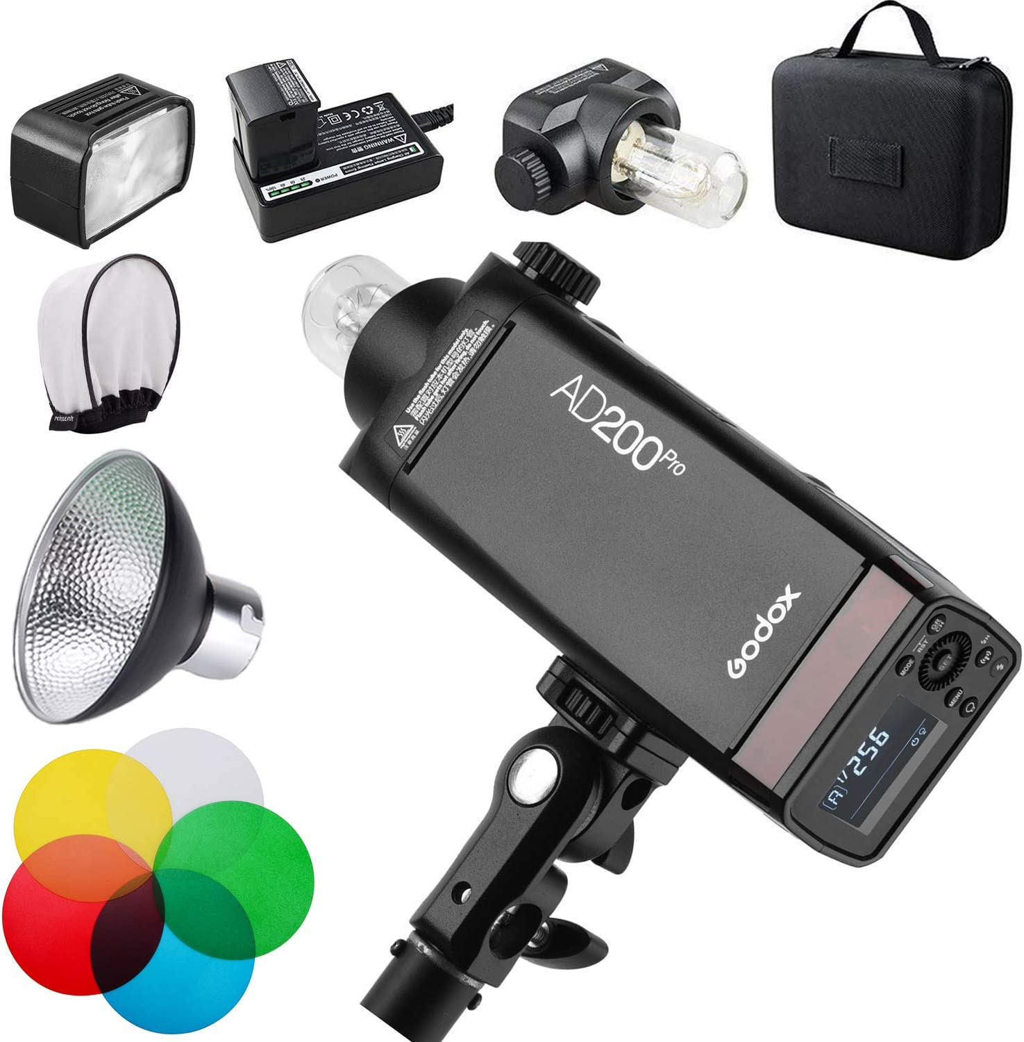 2900mAh Battery 500 Full Power Flashes 200Ws 2.4G Flash Strobe Lightweight Godox AD200Pro AD200 Pro with PERGEAR Diffuser 0.01-2.1s Recycling 1//8000 HSS Bare Bulb//Speedlite Fresnel Flash Head