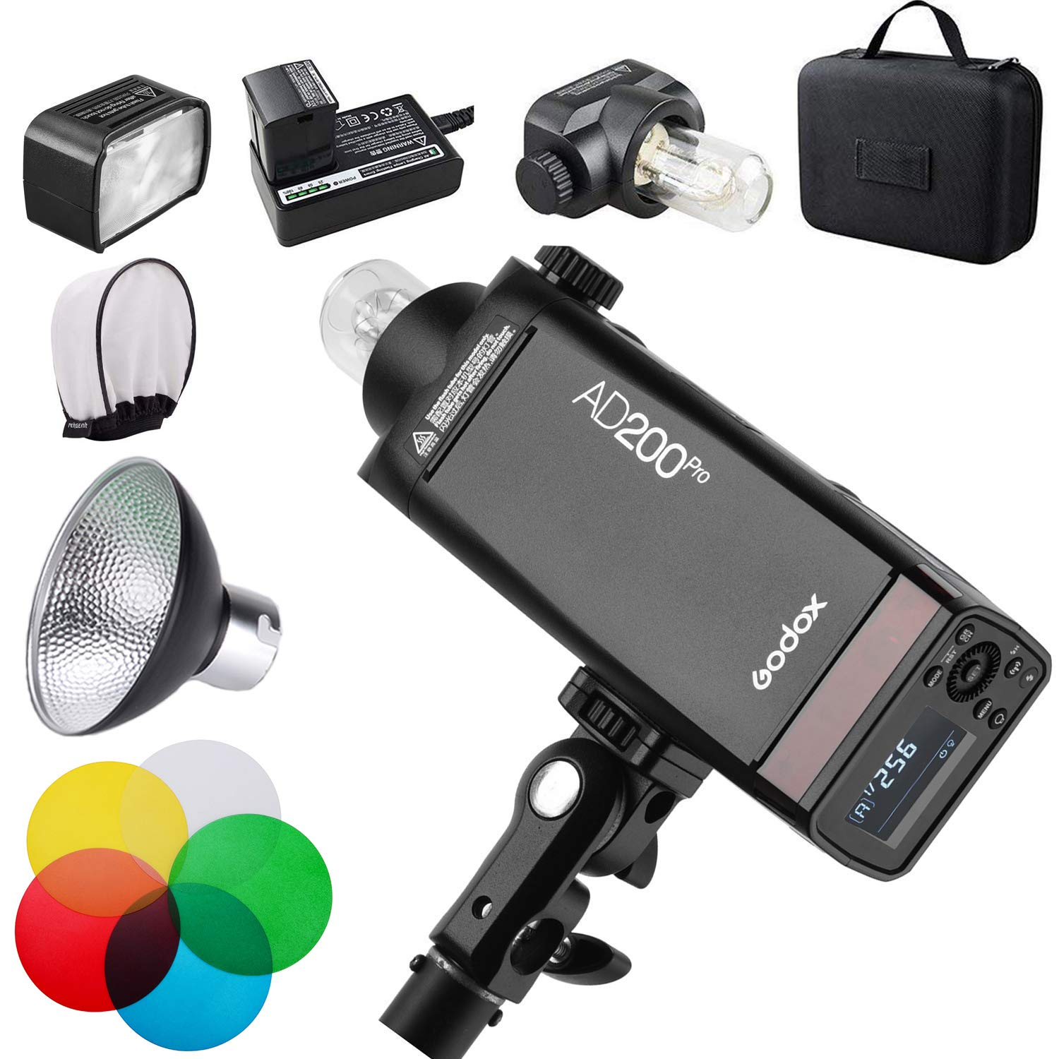 GODOX AD200Pro AD200 PRO with Reflector and Color Filters Kit, 200Ws 2.4G Flash Strobe, 1/8000 HSS, 500 Full Power Flashes, 0.01-1.8s Recycling, 2900mAh Battery, Bare Bulb/Speedlite Fresnel Flash Head by Godox