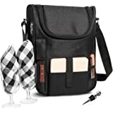 Insulated Travel Wine Tote Bag: Portable 2 Bottle Wine and Cheese Waterproof Black Canvas Carrier Bag Set with Picnic…