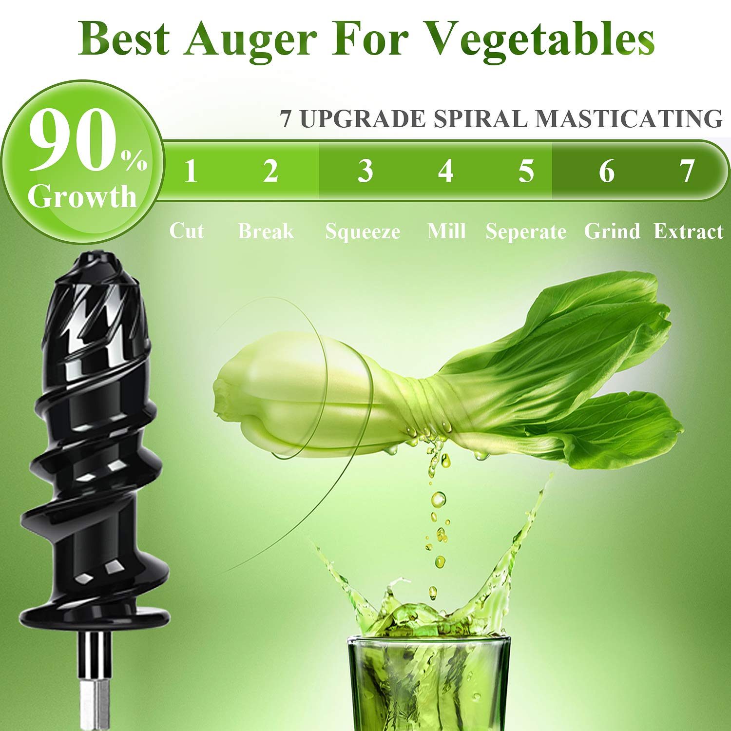 Aobosi Slow Masticating juicer Extractor, Cold Press Juicer Machine, Quiet Motor, Reverse Function, High Nutrient Fruit and Vegetable Juice with Juice Jug & Brush for Cleaning by AAOBOSI (Image #2)