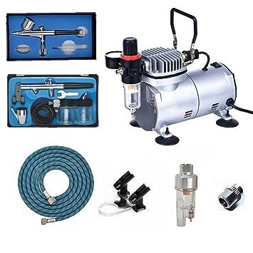 ABEST Kit compresor Airbrush Plus accesorios para aerógrafo - Manguera de aire, porte-aérographe, mini-filtre, aerógrafo doble efecto de blanco: Amazon.es: ...