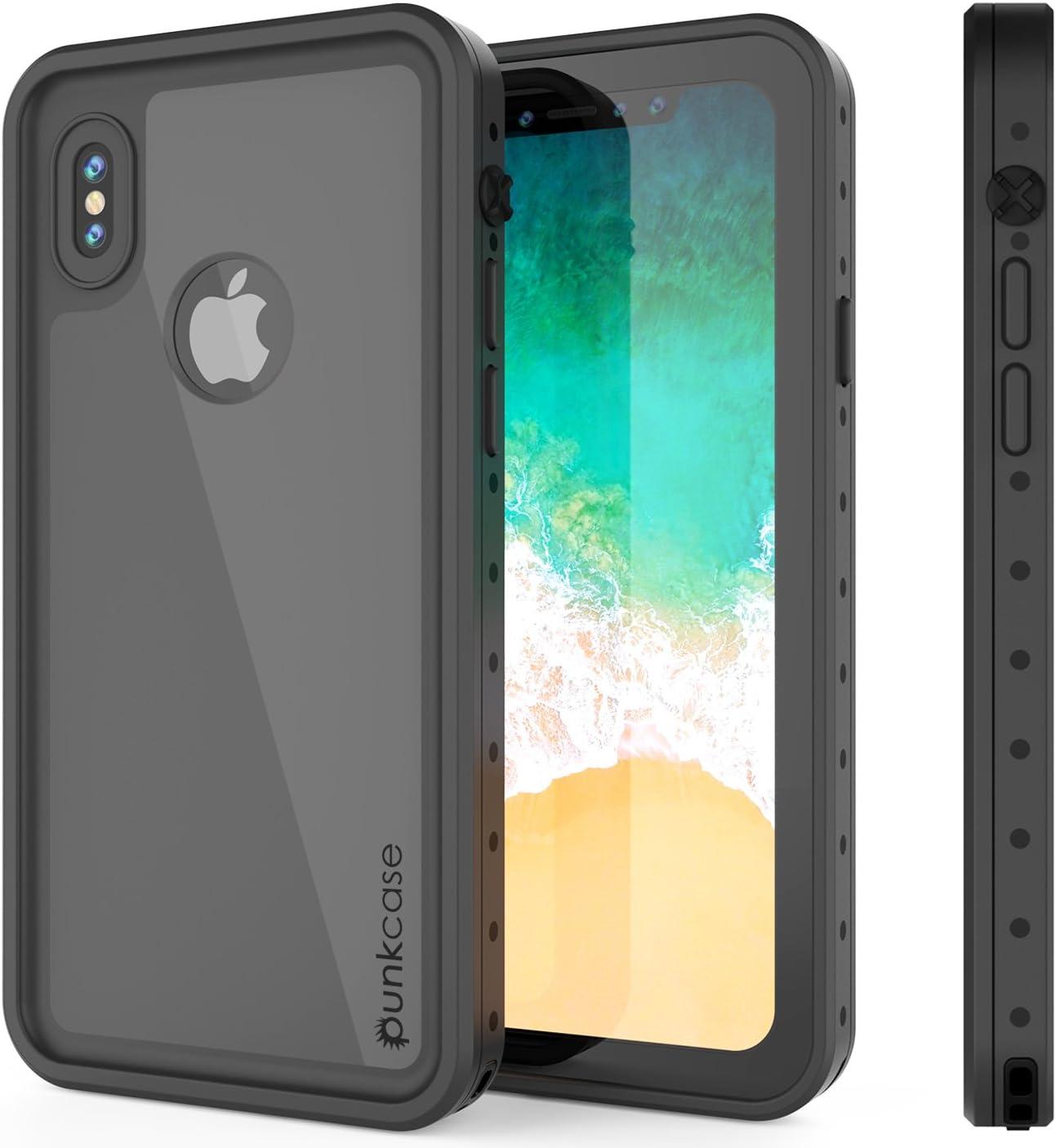 iPhone X Waterproof Case, Punkcase [StudStar Series] [Slim Fit] [IP68 Certified] [Shockproof] [Dirtproof] [Snowproof] Armor Cover for Apple iPhone Ten [Black]