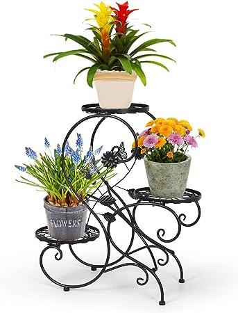HLC Stand para macetas/Estanteria para macetas en diseño de S de Metal/ Escalera para macetas de Plantas y Flores con 3 Niveles/Color Negro: Amazon.es: Hogar