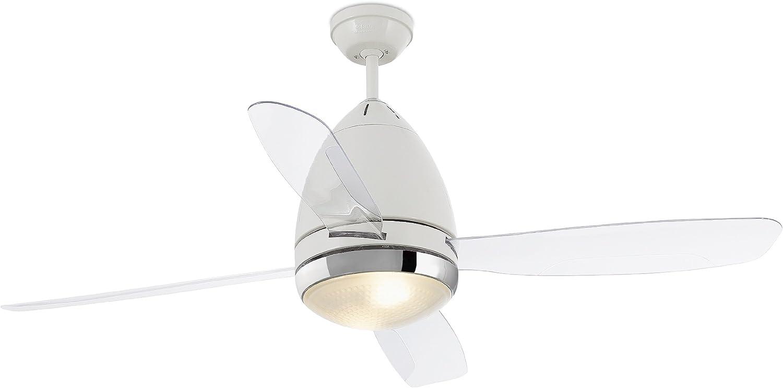FARO BARCELONA 33389 - FARETTO Ventilador de Techo con luz (Bombilla no incluida) 4 Palas Transparentes diametro 1310 mm con Mando a Distancia