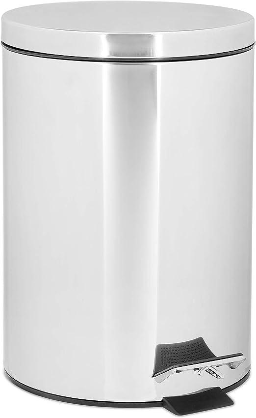 Relaxdays Treteimer 3 L aus Edelstahl H x D: 25,5 x 17 cm Abfalleimer in Metall Optik als Abfallbehälter und Tretmülleimer für Küche und als