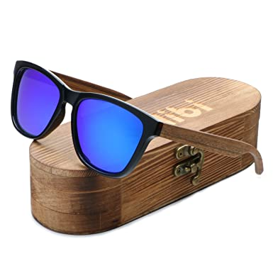 0d4bfdc60a Ablibi Womens Bamboo Wooden Blue Sunglasses Polarized Driving Eyewear in  Wood Box (Zebra Wood