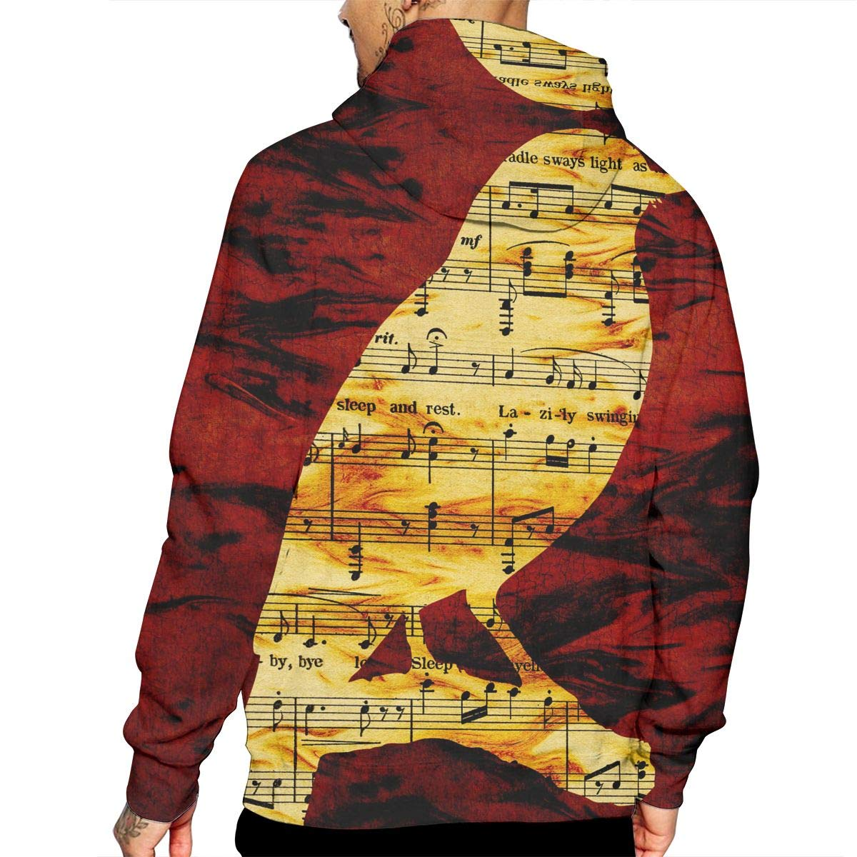 Bird Music Notation Mans Long Sleeve Hoodie Casual Pocket Hooded Sweatshirt