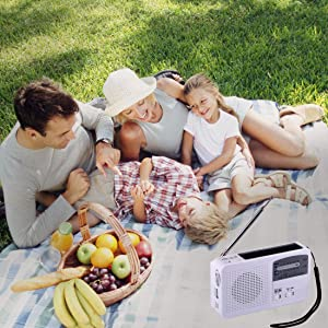 Emergency Radio with Solar and Hand Crank Self Powered, Battery USB Recharging FM/AM Radio LED Flashlight Cell Phone Charger(White) (Color: white)