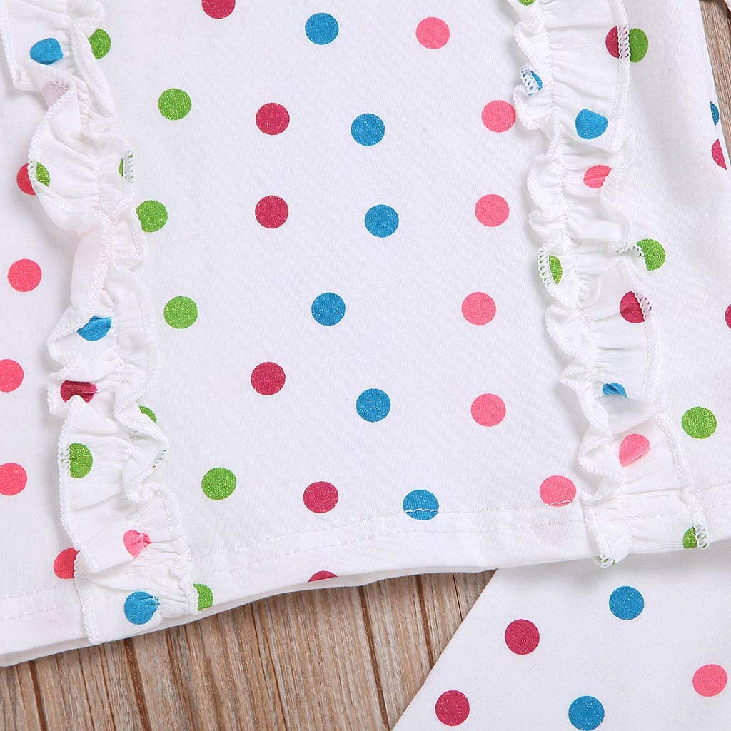 Infant Unisex Boy Girl Sleeveless Dot Print Ruffles O-Neck Vest Tops+Elastic Pants,2 PC Outfits Set