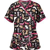 MEIbax Enfermera Tops Cuello de Pico de Manga Corta Mujer Uniforme Estampado Uniforme de Trabajo Camisetas de Manga…