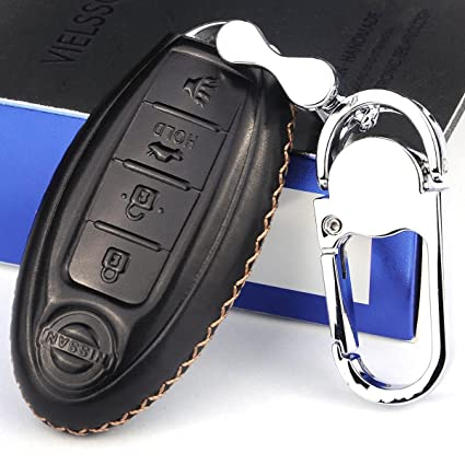 Vielsson Genuine Leather Nissan Altima Key Fob Cover Case Maxima Key Holder  Calf Skin Nissan Sentra