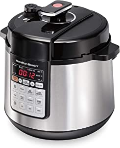 Hamilton Beach 10-in-1 Multi-Function Electric Pressure Cooker, 6 quart, Steamer, Sauté and Warmer, Stainless Steel (34502)