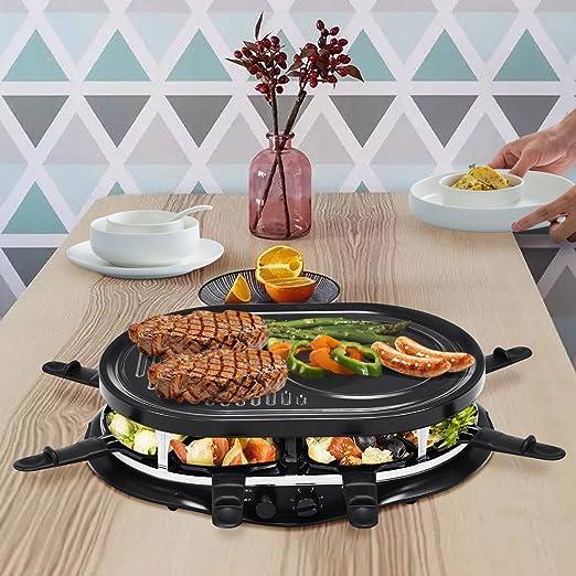 costway Raclette Grill Party Grill - Parrilla eléctrica para raclette parrilla Barbeque Barbacoa 1200 W con 8 sartenes y paletas: Amazon.es: Hogar