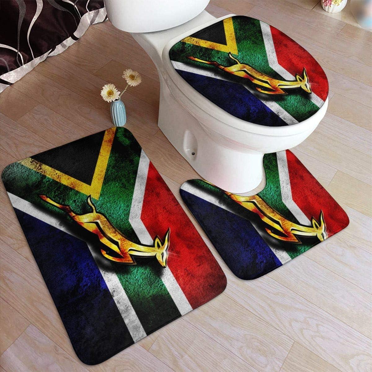 Taroot AA Bandera de Sudáfrica Emblema Africano Springbok Alfombra de baño de Franela cómoda Alfombrillas de baño Juego de 3 Piezas Blandas