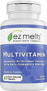 EZ Melts Multivitamin with Iron, Sublingual Vitamins, Vegan, Zero Sugar, Natural