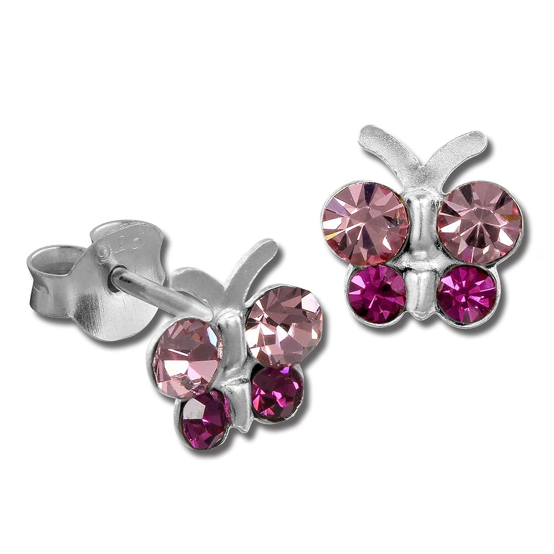 Teenie-Weenie SDO8014A Boucles d'oreilles pour enfant en forme de papillon Argent 925 et oxydes de zirconium Rose/violet