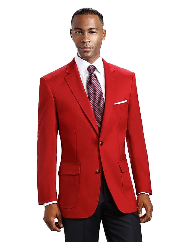 Many Colors Mens Elegant Modern 2 Button Notch Lapel Blazer 46 Long, Red