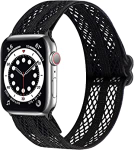 Breathable Air Holes Sport Bands Compatible with Apple Watch Bands 42mm 44mm, Adjustable Elastic Stretchy Solo Loop Strap Wristbands for iWatch Series 6 5 4 3 2 1 SE Women Men (Black, 42mm/44mm)