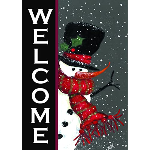 toland home garden 100563 snowman welcome decorative winter christmas double sided house flag 28