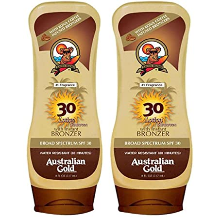Australian Gold Spf 30 Broad Spectrum Moisture Max Sunscreen Lotion with Kona Bronzers, 8 Ounce Pack of 2 2 Pack, Spf 30
