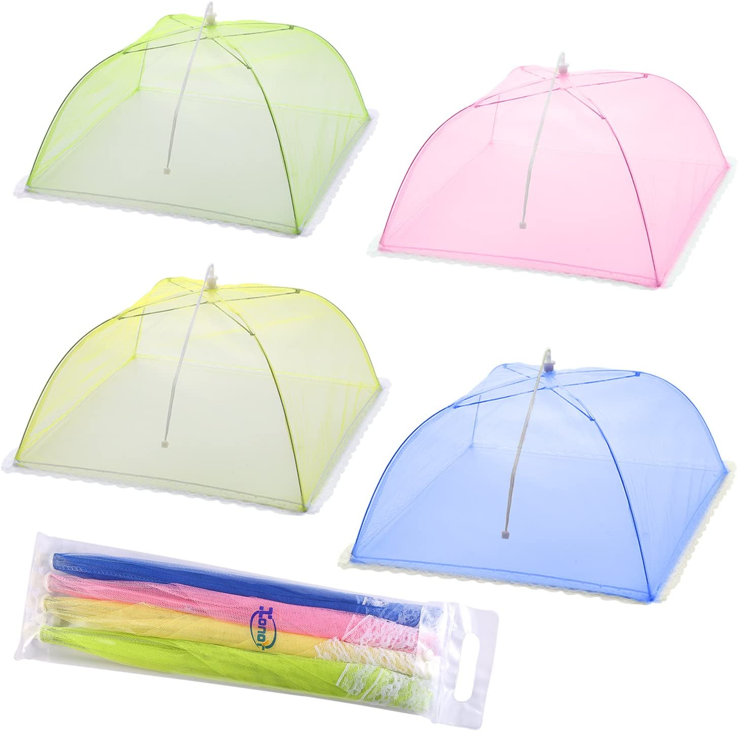 Mesh Screen Food Cover Tents - Set of 4 Umbrella Screens to Keep Bugs And Flies Away From Food at Picnics, BBQ & More - 4 Colors (Pink, Green, Blue, Yellow)