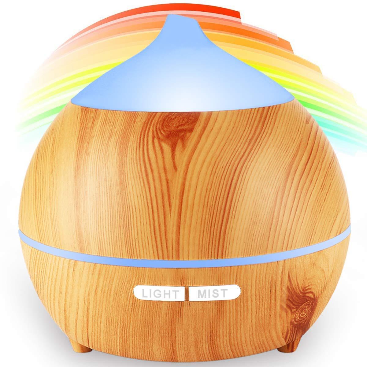 Yoga Casa Diffusore di Aromi,avaspot 250 ml ultrasonico aromatico grana di legno umidificatore d aria nebbia fresca aroma diffusore di profumo elettrico con 7-couleurs cangianti per Spa Massaggio