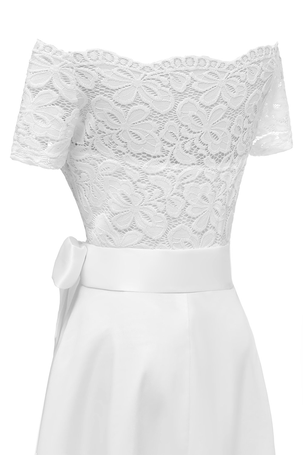 MILANO BRIDE Women's Vintage Floral Lace Short Sleeves Boat Neck Cocktail Formal Swing Dress-L-White by MILANO BRIDE (Image #7)