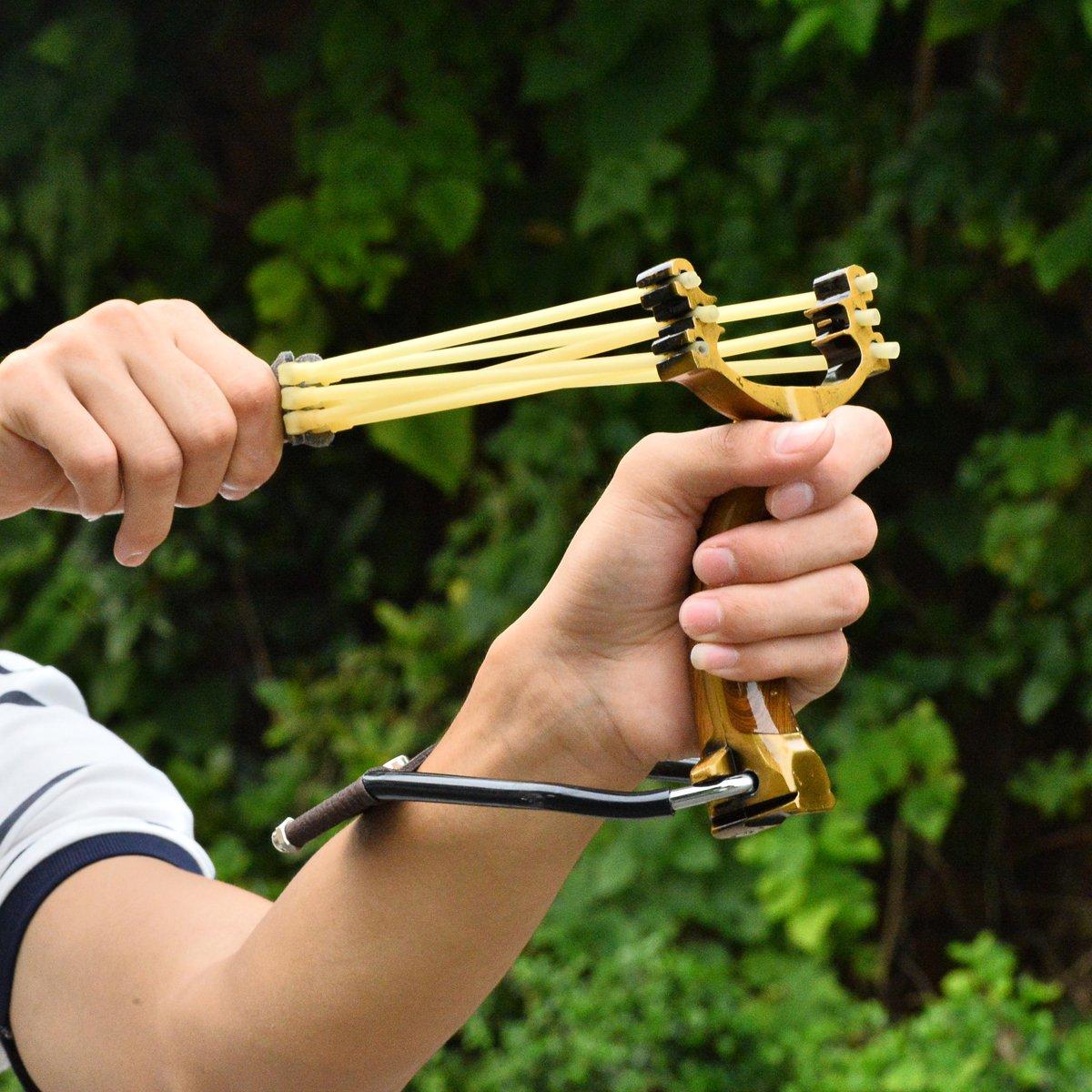 TM Popshot Outdoor Morepower Wrist Brace Sniper Catapult Sling Shot Marble Shooting Accurate Slingshots