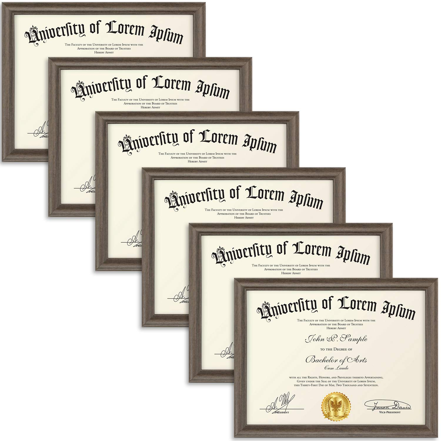 Icona Bay 8.5x11 Diploma Frame (6 Pack, Hickory Brown), Certificate Frame, Document Frame, Composite Wood Frame for Walls or Tables, Set of 6 Lakeland Collection by Icona Bay