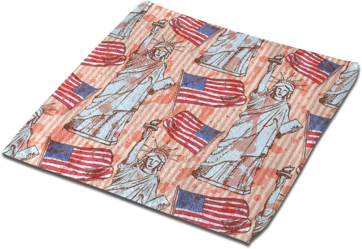 Yxungdiy Square Bathroom Towel 1Pcs Statue of Liberty Flag ...