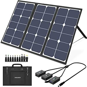 VITCOCO 63W Solar Charger Solar Panel, with 3 USB Port 2 DC Port Portable Foldable Waterproof Solar Charger Camping for Laptop Tablet, iPhone, iPad, Drone, Camera and All USB Devices
