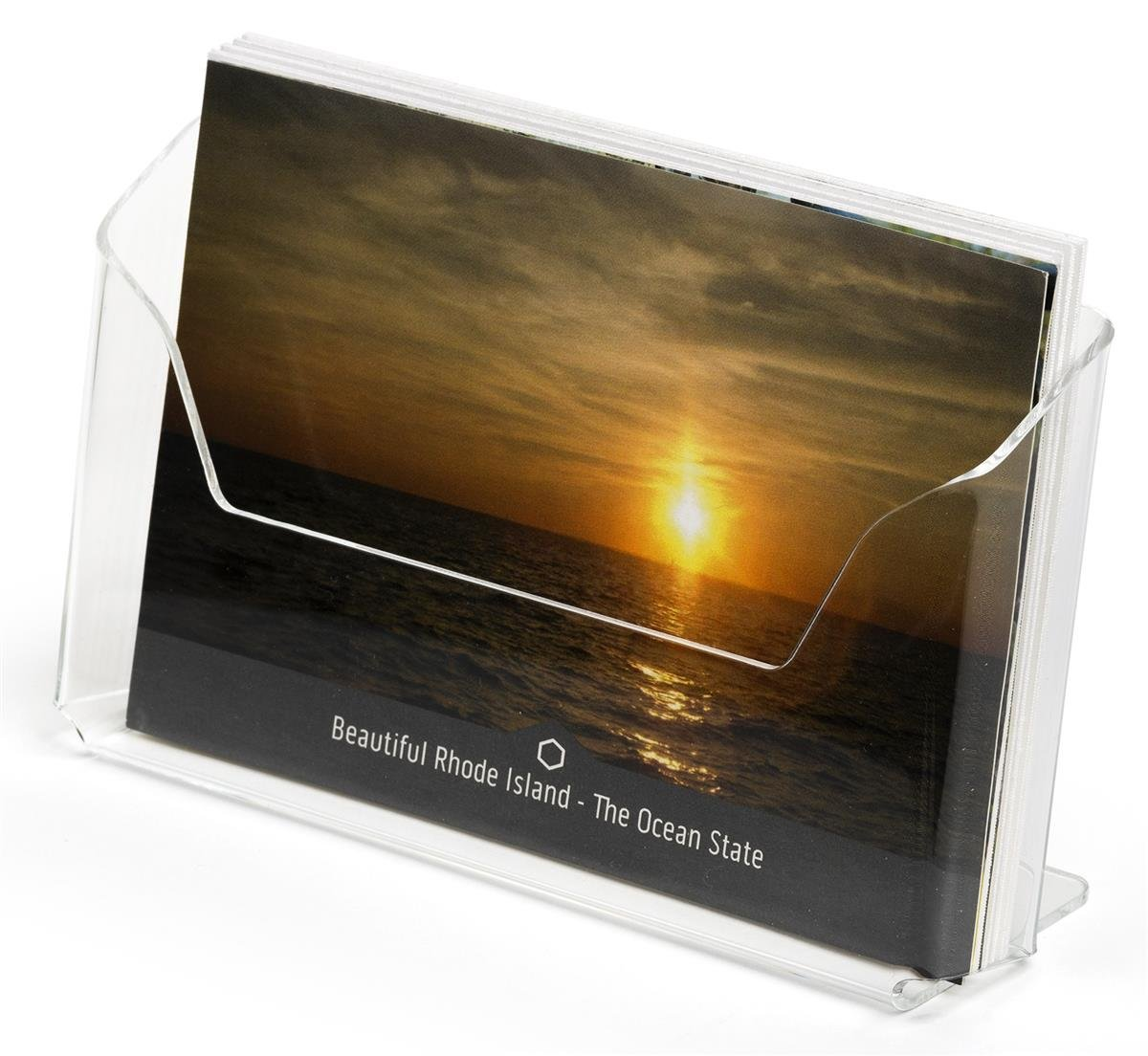 Displays2go Postcard Holders for Tabletop, Fits 6'' x 4'' Cards, Set of 20 - Clear (LHPCLAND)