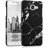 kwmobile Funda Dura para Samsung Galaxy A5 (2016) - Hard Case de plástico para Móvil - Cover Duro Diseño Mármol en Negro Blanco