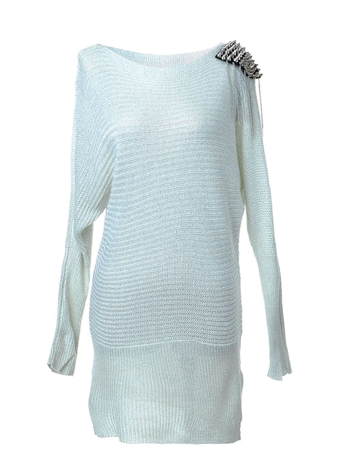 Anna-Kaci S/M Fit White L/S Surprise Spiked Studded Shoulder Detail Tunic Dress