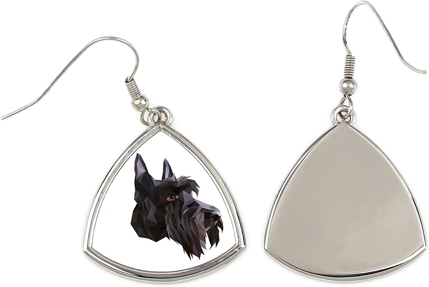 geometric collection of earrings with purebred dog Scottish Terrier