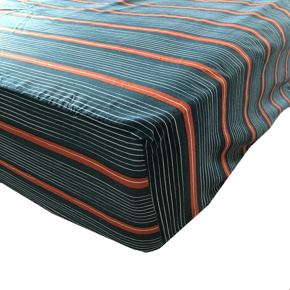 Stain Resistant AF18D32FQ Fade Stripped - GOOFUN-D32FQ Fitted Sheet Microfiber Bedding Queen, Green Wrinkle