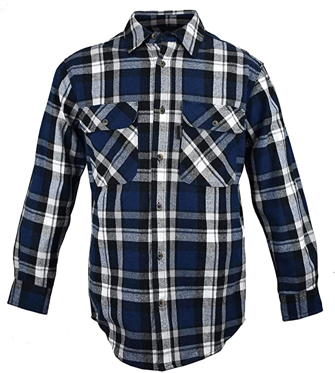 Men's Vintage Workwear – 1920s, 1930s, 1940s, 1950s Five Brother Mens Heavyweight Flannel Shirt Big and Tall $44.99 AT vintagedancer.com